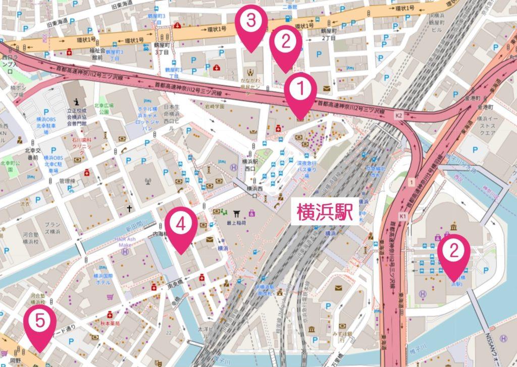 横浜駅周辺AGAクリニックマップ