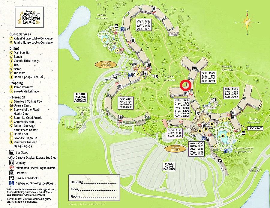 アニマルキングダムロッジの地図